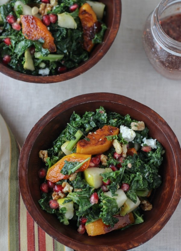 Kale Salad with Maple Butternut Squash and Pomegranate Vinaigrette