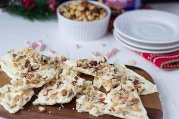 White Chocolate Peppermint Nut Bark