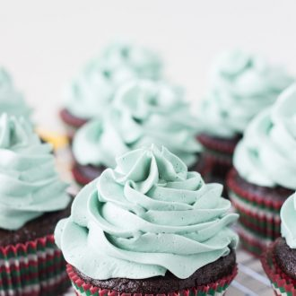 Rich chocolatey cupcakes with mint chocolate morsels!