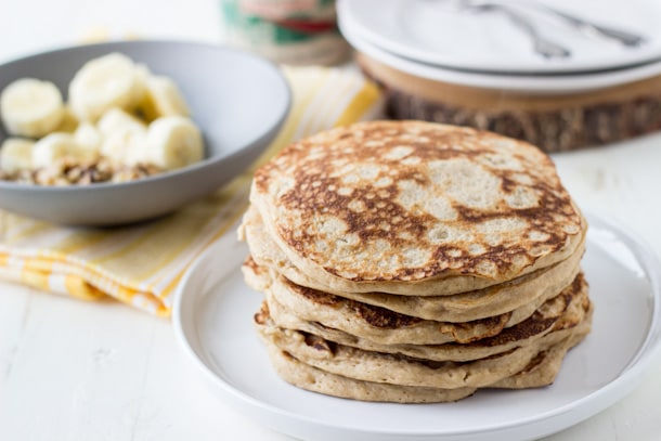 Dairy Free Whole Wheat Banana Walnut Pancakes