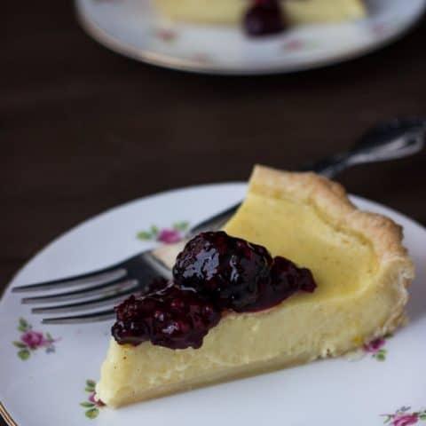 Meyer Lemon Buttermilk Pie with Blackberry Sauce