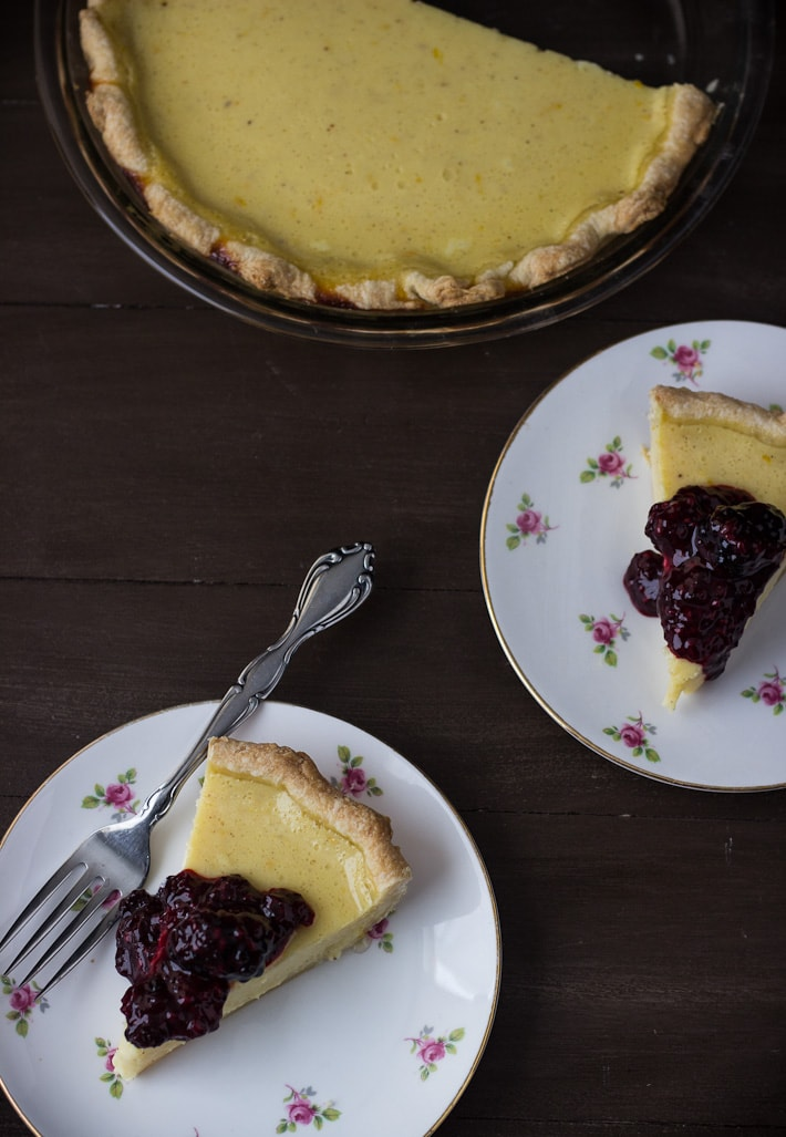 This meyer lemon buttermilk pie is bursting with sweet winter citrus and tangy buttermilk.