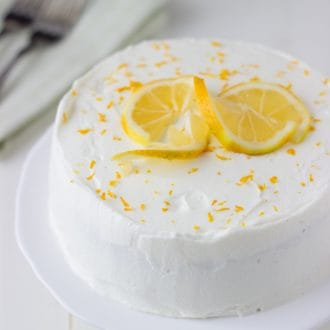 Meyer Lemon Cake with White Chocolate Mousse