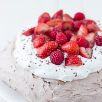 Chocolate Pavlova - crisp chocolate shell with sweet soft chocolate center.