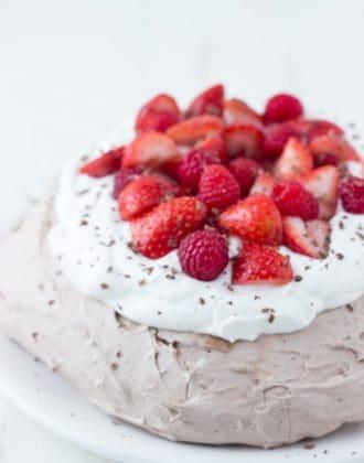 Chocolate Pavlova - crisp chocolate shell with sweet soft chocolate center.