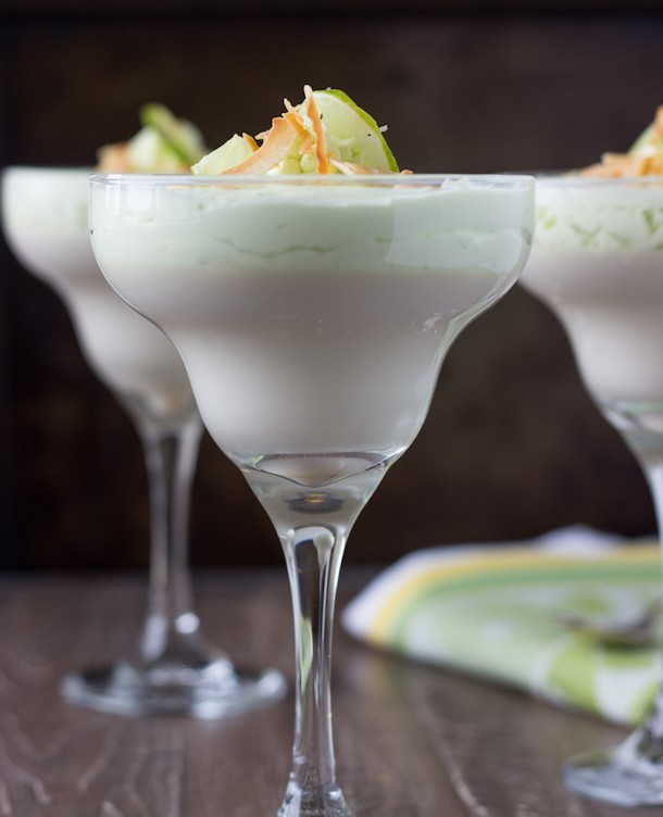 Coconut Key Lime Panna Cotta - an easy tropical delight with sweet coconut silky smooth custard and a lime mousse.