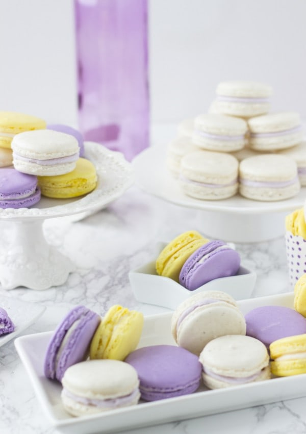 Lavender Honey Macarons - beautiful spring macarons with hints of lavender and honey!