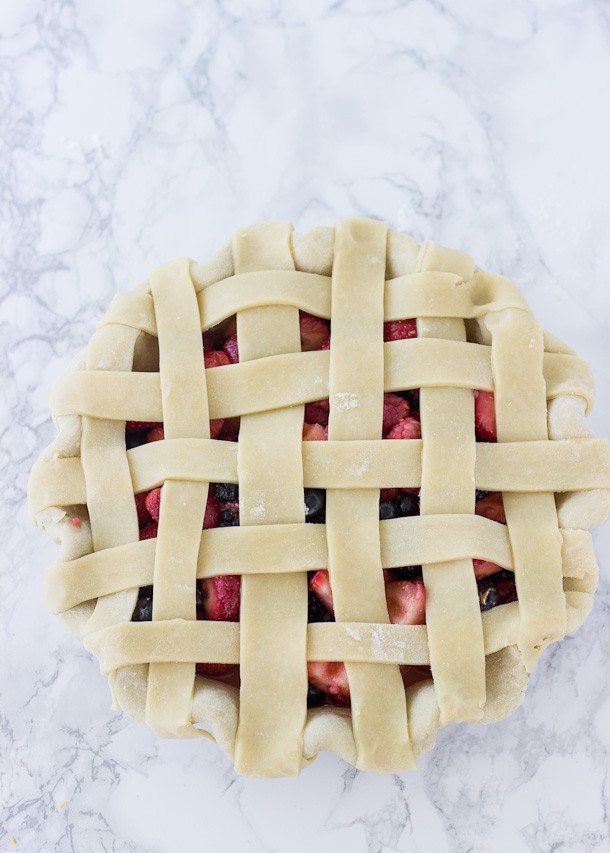 Mixed Berry Pie - juicy blueberries, strawberries, and black berries in a buttery, flaky pie crust! | BlahnikBaker.com