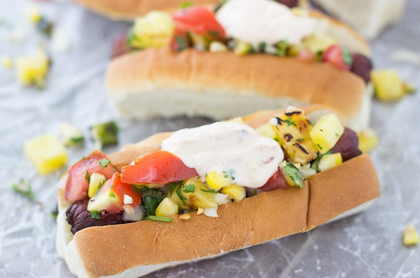 Hot Dogs with Grilled Corn Relish and Chipotle Mayo