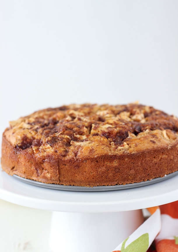 This caramel apple crumb cake starts with a cinnamon crumb cake that is light, and is filled with chopped apples and swirls of cinnamon and caramel.