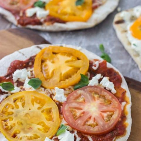Grilled Tomato Goat Cheese Pizzas