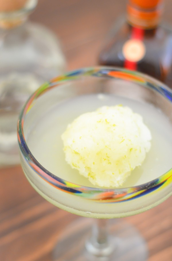 A refreshing margarita sorbet cocktail using lime sorbet