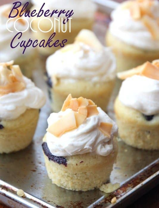 Mini Blueberry Coconut Cupcakes