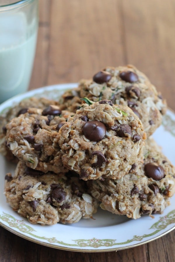 These Zucchini Coconut Chocolate Chip Cookies are soft, chewy and gluten free.