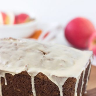 Apple Coconut Bread with Caramel Glaze