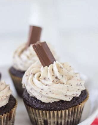 Kit Kat cupcakes are a great Halloween treat! A moist chocolate cupcake, frosted with a whipped Kit Kat candy bar buttercream.
