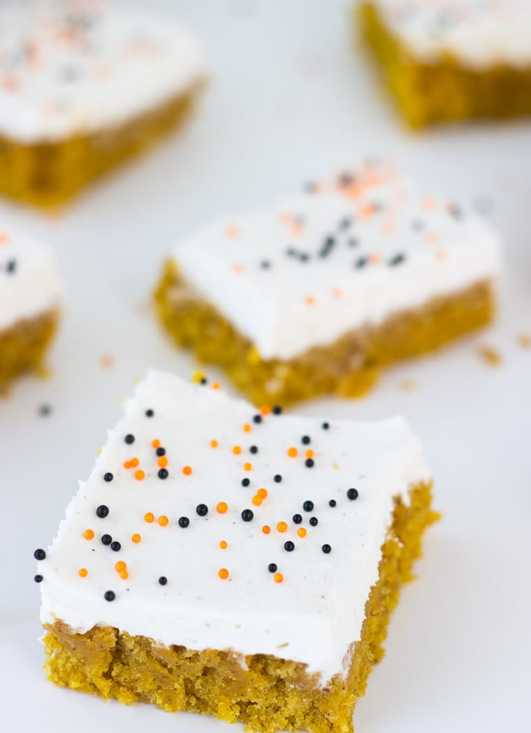 Spiced Pumpkin Cake Bars with Brown Butter Frosting - an easy pumpkin cake recipe.