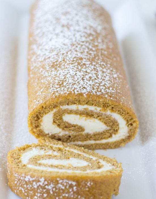 Pumpkin Roll Cake with Ginger Buttercream