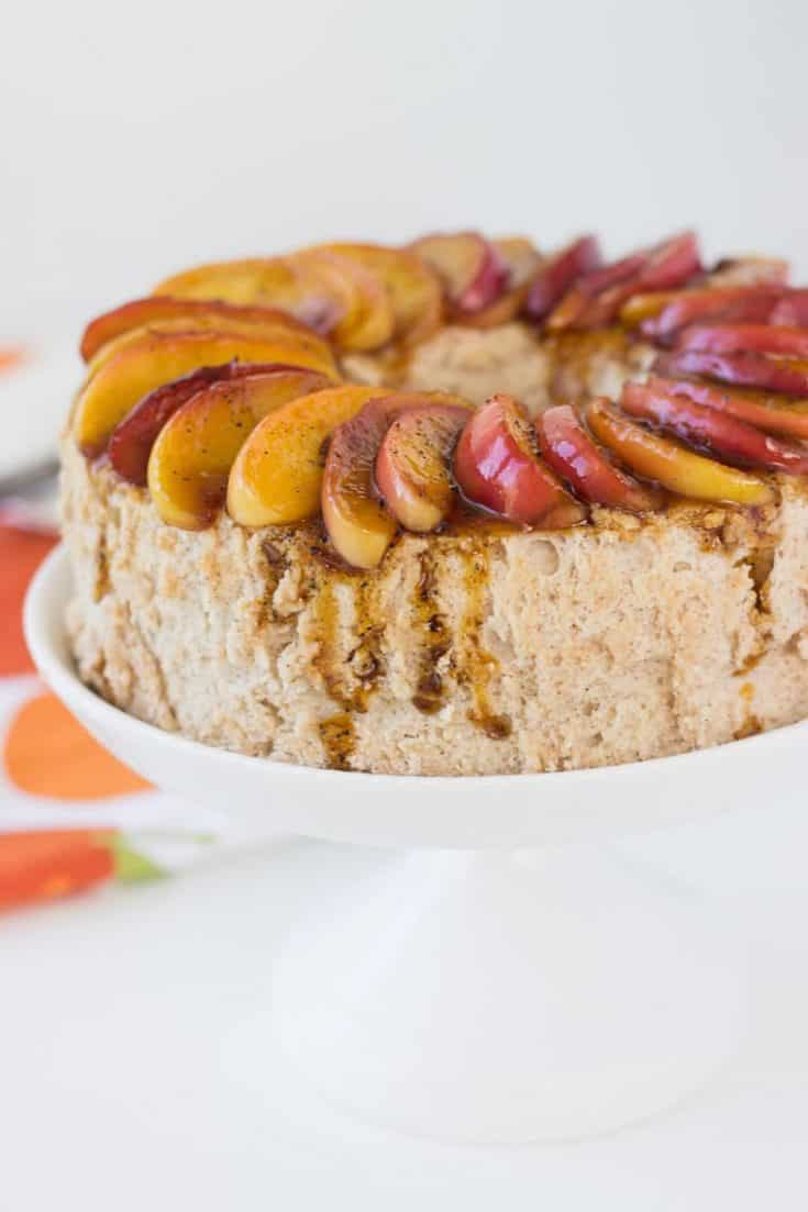 Cinnamon Angel Food Cake with Caramelized Apples