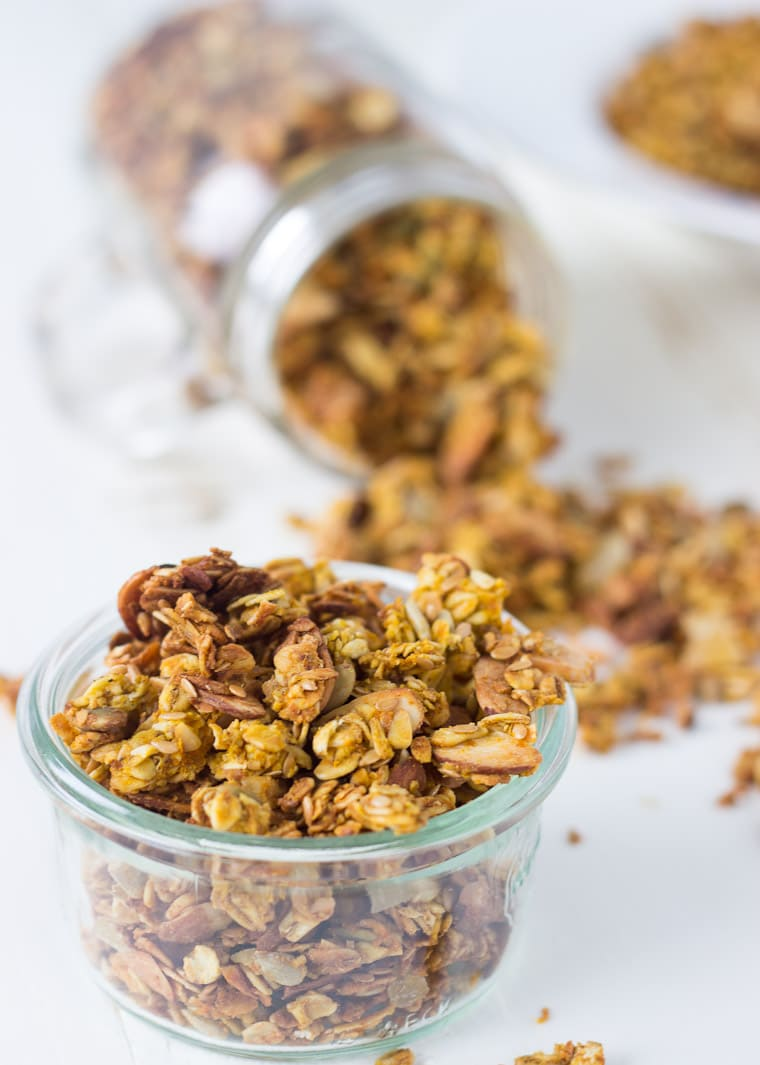 Pumpkin spice granola recipe for the perfect fall snack or breakfast granola.