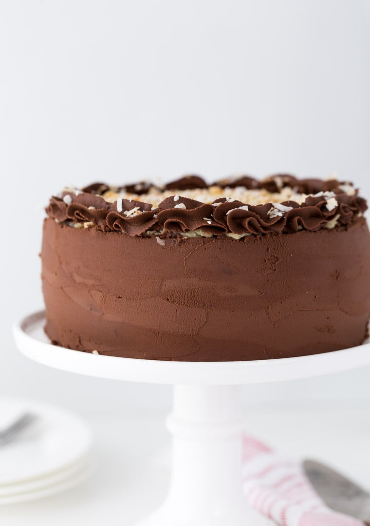 German Chocolate Cake With Ganache Without Coconut