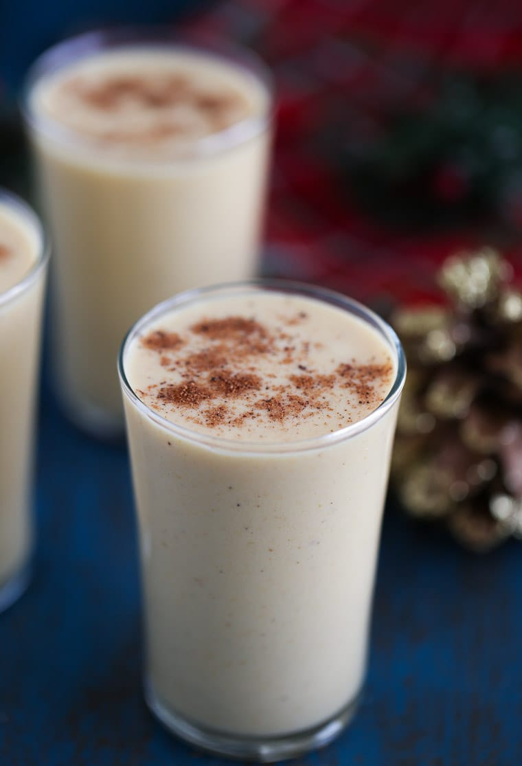 Homemade pumpkin eggnog recipe with a splash of bourbon - creamy, delicious and warm!
