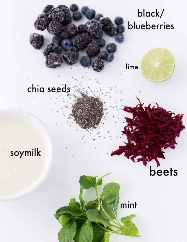 A healthy recipe to drink or slurp your fruits and veggies in this berry beets smoothie bowl with chia seeds, lime juice, honey and mint.
