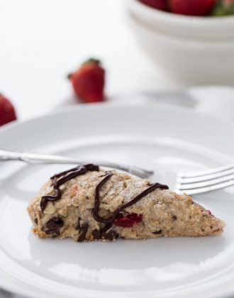 Chocolate strawberry scones made with whole wheat, Greek yogurt and chocolate chunks. They are perfect with a cup of tea.