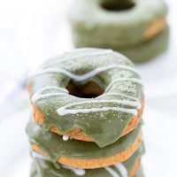 Coconut Matcha Donuts with White Chocolate Glaze