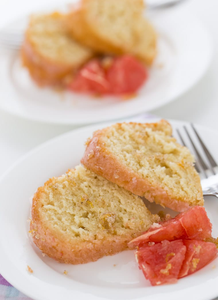A rich grapefruit pound cake with vanilla bean and grapefruit glaze. This grapefruit vanilla bean pound cake recipe is crumbly, tender and delicious.