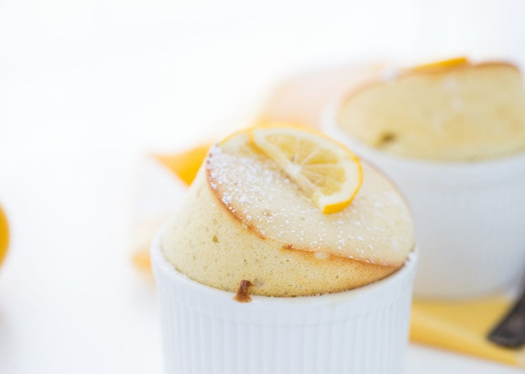 This Meyer Lemon Souffle is rich and gooey with bursts of sweet, tangy meyer lemon juice!