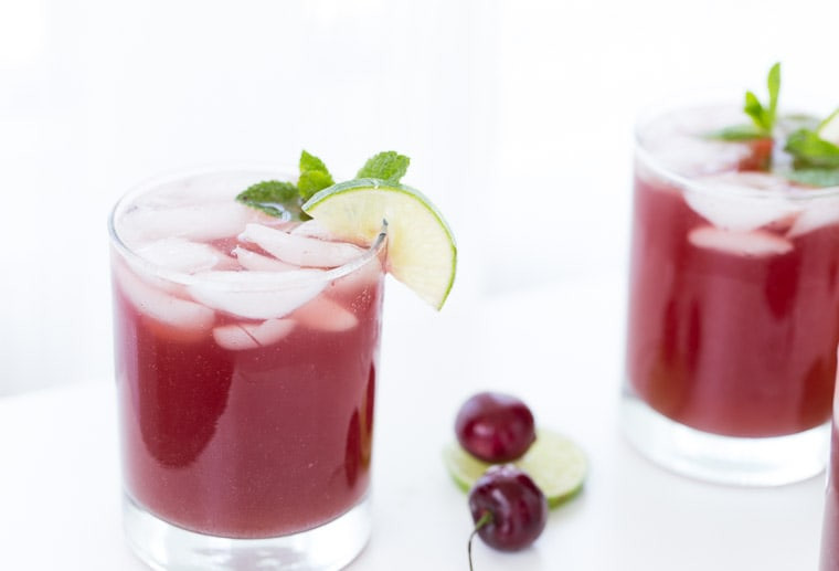 This homemade sparkling cherry limeade recipe has a subtle hint of almond and is perfect for any summer BBQ or picnic.