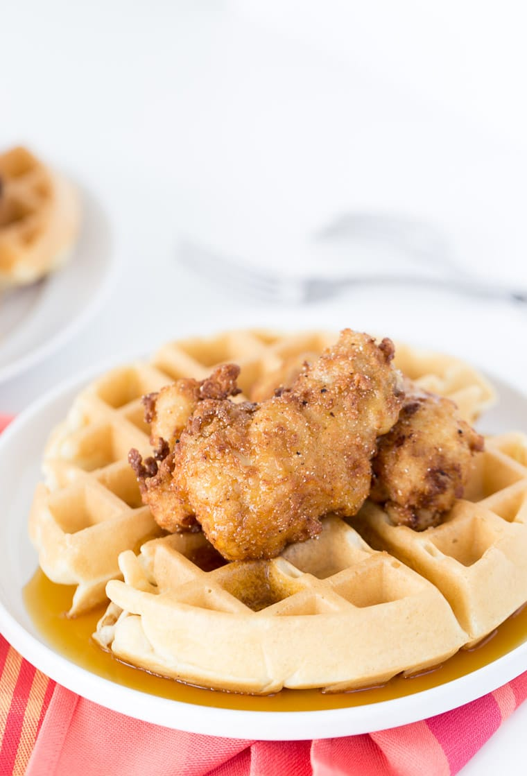 A classic chicken and waffle recipe with soft buttermilk waffles and homemade fried chicken that is moist and crispy.