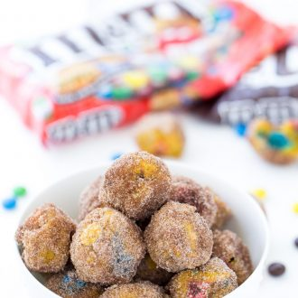 Pumpkin Spice Donut Holes with M&Ms
