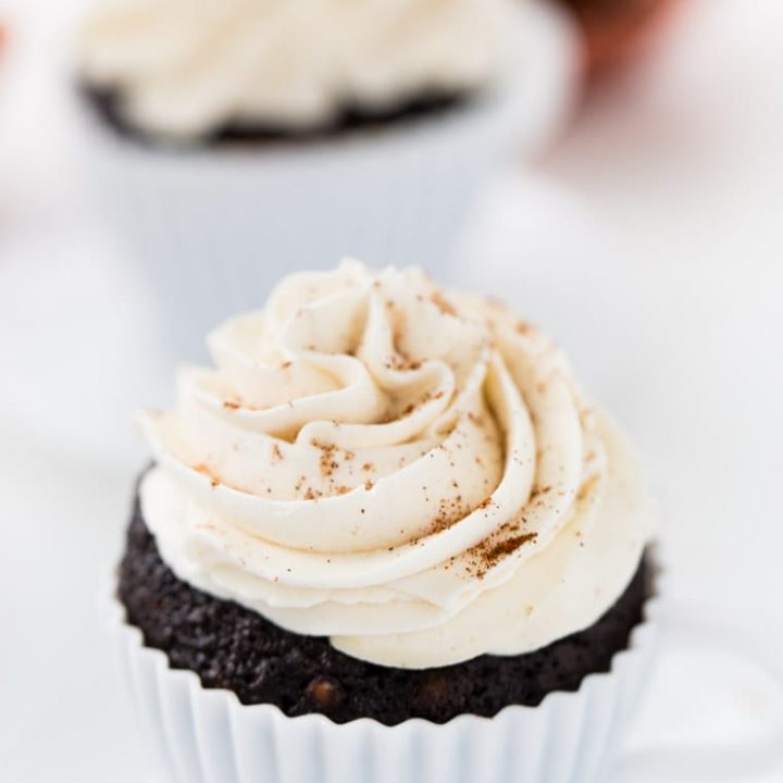 These Chile Mocha Cupcakes are just like the coffee drink. Sweet and spicy with cocoa, cinnamon and vanilla in the cupcakes and a dash of chile.