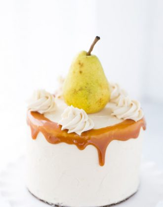 Spiced Pear Cake with Honey Caramel Frosting