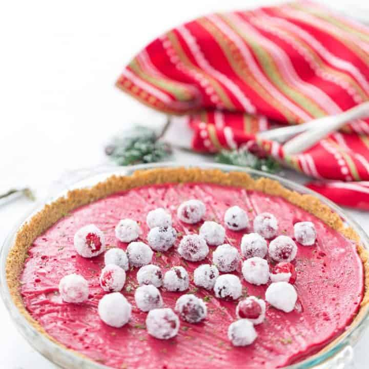 A luscious cranberry curd in a spicy gingerbread crust makes this cranberry lime pie a great holiday dessert.