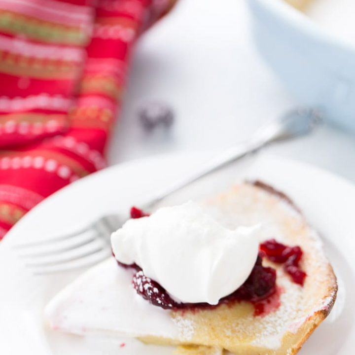 Eggnog Dutch Baby with Cranberry Compote