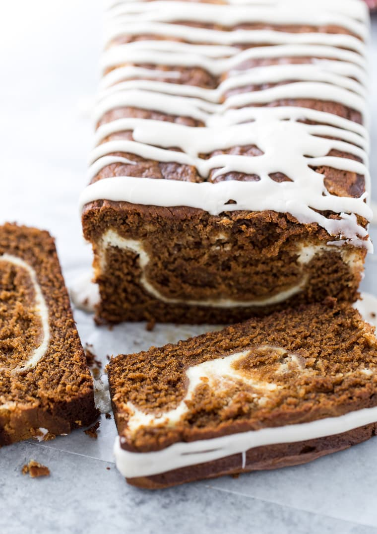 Just like the gingerbread latte this cake is perfectly spiced, soft, infused with espresso and swirled with cream cheese.