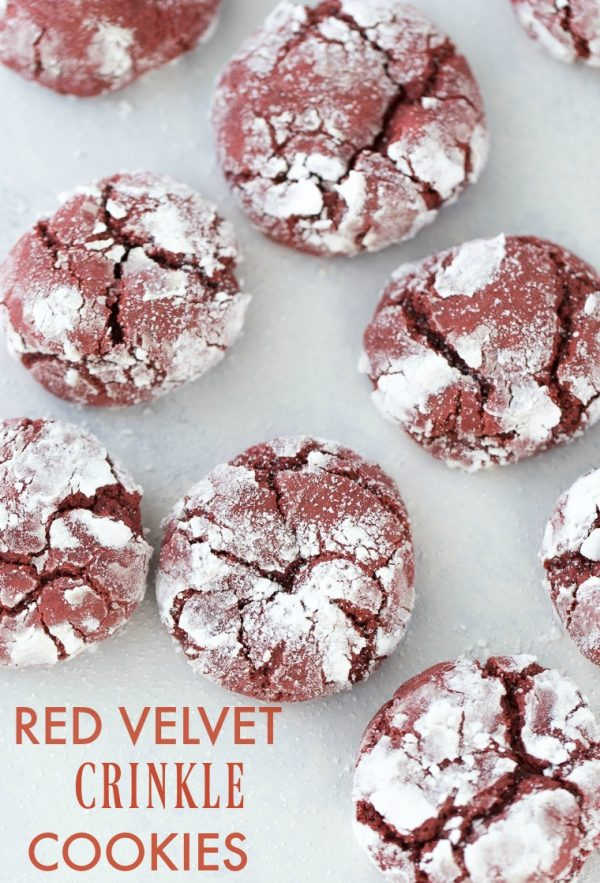These red velvet crinkle cookies are soft, cake-like vanilla cookies with hints of chocolate and that amazing red velvet flavor.