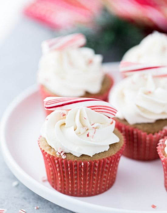 These peppermint white chocolate latte cupcakes are just like the drink- sweet, creamy and with cool peppermint, they are perfect for the holiday season.