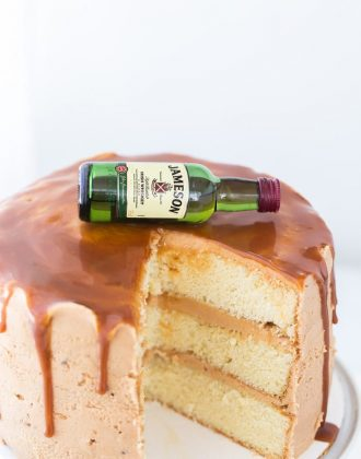 Drunken Whiskey Caramel Cake