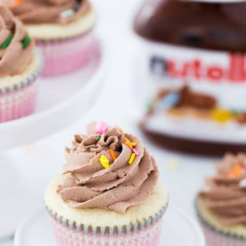 Vanilla Cupcakes with Nutella Frosting