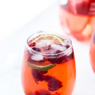 Made with fresh cherries, lime juice, a hint of almond extract and bubbling 7UP Cherry, this cherry almond sparkler is bursting with summer flavors.