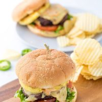 Pineapple Jalapeno Burgers with Chipotle Mayo