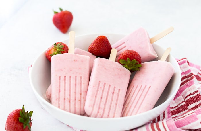 Strawberry Coconut Cheesecake Popsicles