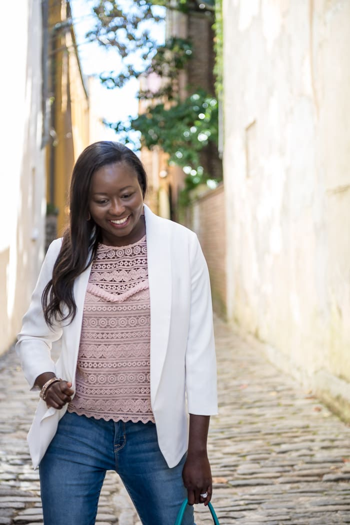 A classic white blazer is a wardrobe staple that is versatile, feminine (with a side of girl boss) and stylish for play or work.