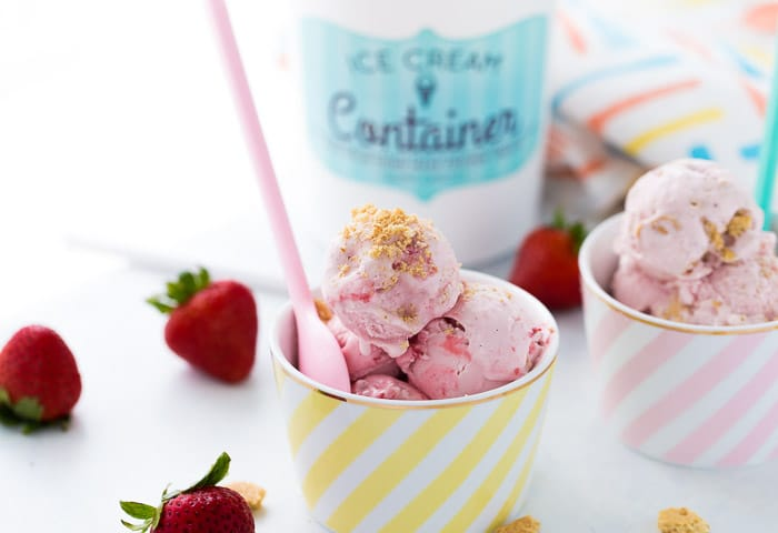 This homemade strawberry cheesecake ice cream recipe is creamy delicious, slightly tangy and bursting with sweet strawberries!! Perfect for summer!