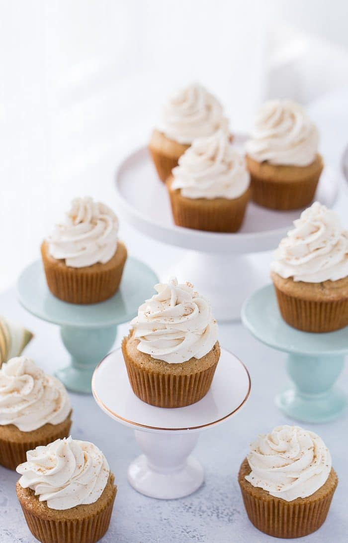 Moist and flavorful brown sugar cupcakes that are perfect for fall and holiday season baking.