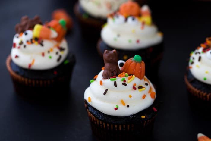 These chocolate Halloween cupcakes are festive, simple to pull together with my one-bowl chocolate cupcake recipe and easy decorations for the holiday.